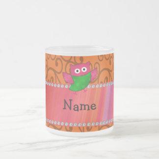 Personalized name cute owl orange swirls mug