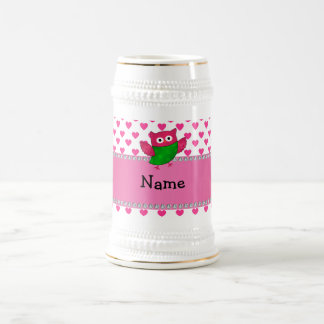 Personalized name cute owl pink hearts coffee mugs