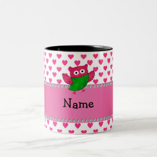 Personalized name cute owl pink hearts mugs