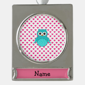 Personalized name cute owl pink hearts silver plated banner ornament