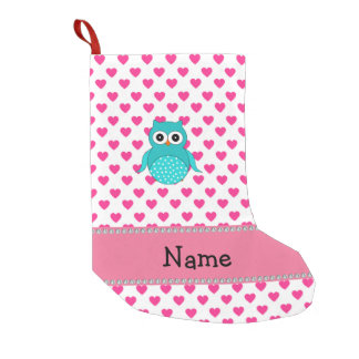 Personalized name cute owl pink hearts small christmas stocking
