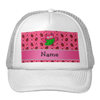 Personalized name cute owl pink ladybugs mesh hat