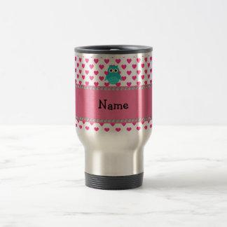 Personalized name cute owl travel mug