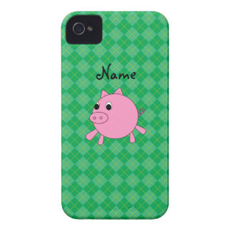 Personalized name cute pig green argyle iPhone 4 cases