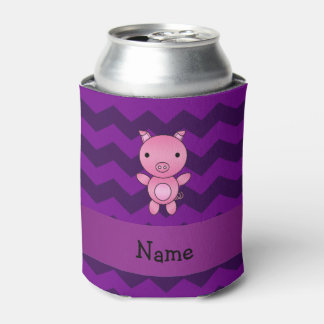 Personalized name cute pig purple chevrons can cooler