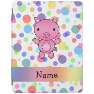 Personalized name cute pig rainbow stripes iPad cover