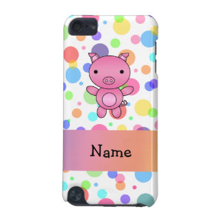 Personalized name cute pig rainbow stripes iPod touch (5th generation) cover