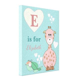 Personalized name Cute pink Giraffe Nursery Canvas Print