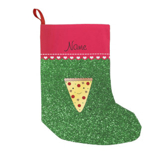 Personalized name cute pizza green glitter small christmas stocking