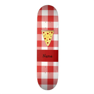 Personalized name cute pizza red checkered 18.1 cm old school skateboard deck