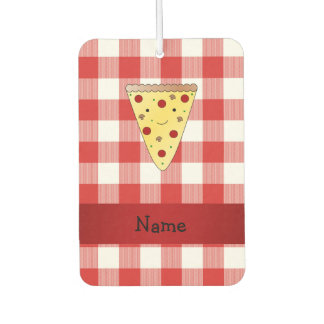 Personalized name cute pizza red checkered car air freshener