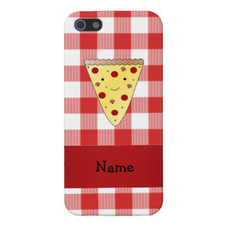 Personalized name cute pizza red checkered case for iPhone 5/5S