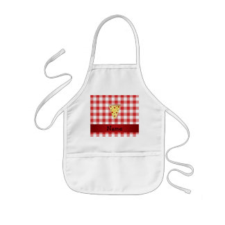 Personalized name cute pizza red checkered kids apron