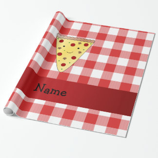 Personalized name cute pizza red checkered wrapping paper