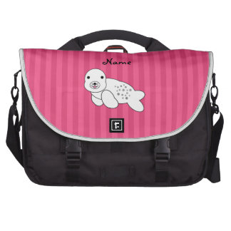 Personalized name cute seal pup pink stripes laptop computer bag