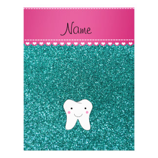 Personalized name cute tooth aqua glitter 21.5 cm x 28 cm flyer