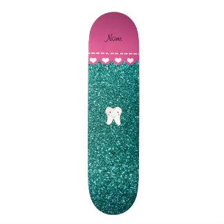 Personalized name cute tooth aqua glitter skate deck