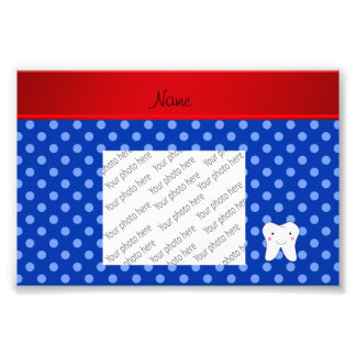 Personalized name cute tooth blue polka dots photo art