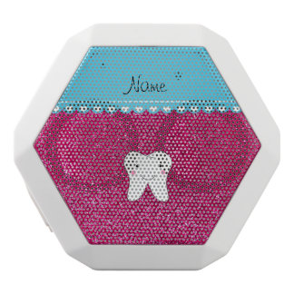 Personalized name cute tooth pink glitter white boombot rex bluetooth speaker