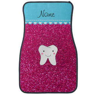 Personalized name cute tooth pink glitter car mat