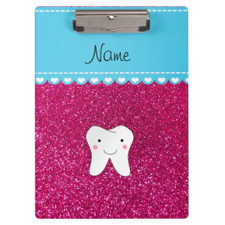 Personalized name cute tooth pink glitter clipboard