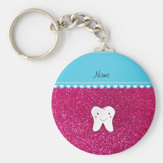 Personalized name cute tooth pink glitter key ring