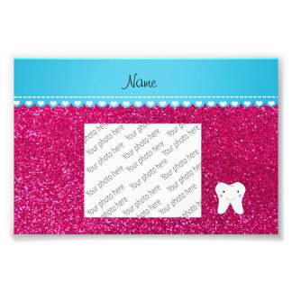 Personalized name cute tooth pink glitter photo