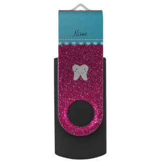 Personalized name cute tooth pink glitter swivel USB 2.0 flash drive