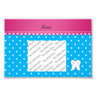 Personalized name cute tooth sky blue dots art photo