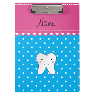 Personalized name cute tooth sky blue dots clipboard
