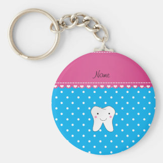 Personalized name cute tooth sky blue dots key ring