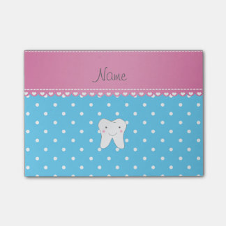 Personalized name cute tooth sky blue dots post-it notes