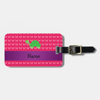 Personalized name cute turtle pink butterflies luggage tag