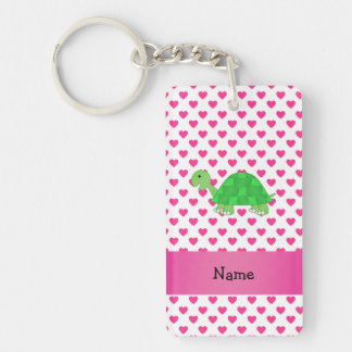 Personalized name cute turtle pink hearts acrylic key chains