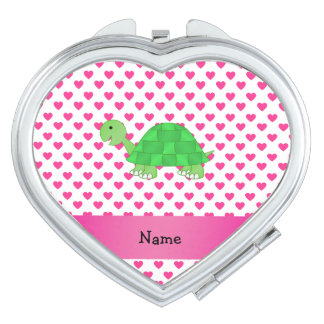 Personalized name cute turtle pink hearts mirrors for makeup