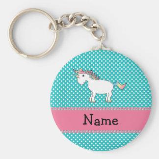 Personalized name cute unicorn basic round button key ring
