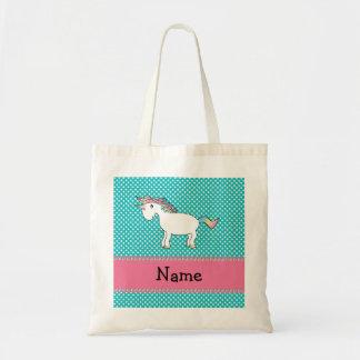 Personalized name cute unicorn budget tote bag