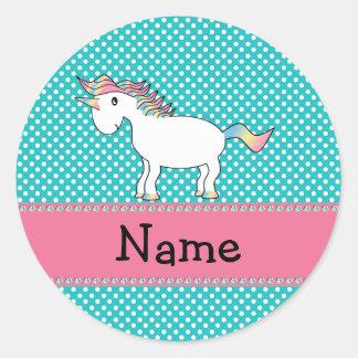 Personalized name cute unicorn round sticker