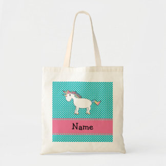 Personalized name cute unicorn tote bag