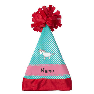 Personalized name cute unicorn turquoise dots santa hat