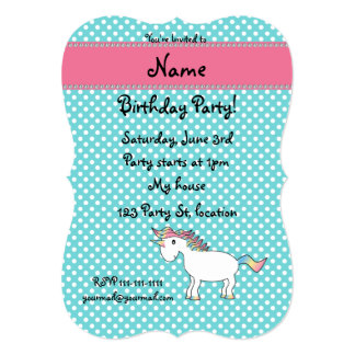 Personalized name cute unicorn turquoise dots card