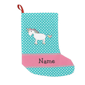 Personalized name cute unicorn turquoise dots small christmas stocking