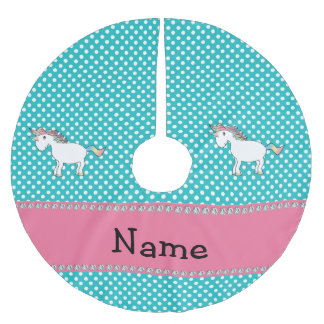 Personalized name cute unicorn turquoise dots brushed polyester tree skirt