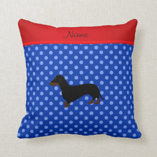 Personalized name dachshund blue polka dots cushion