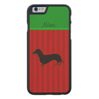 Personalized name dachshund red stripes carved maple iPhone 6 case