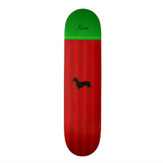 Personalized name dachshund red stripes 21.6 cm skateboard deck
