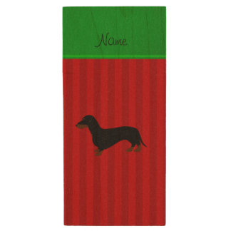 Personalized name dachshund red stripes wood USB flash drive
