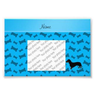 Personalized name dachshund sky blue bones art photo