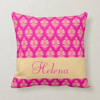 Personalized,Name,Damask Pattern,Fuchsia  Pillow