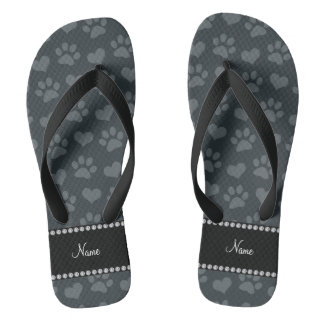 Personalized name dark gray hearts and paw prints flip flops